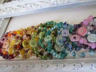 Gemstone and clay flowers